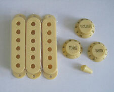 Strat ST Pickup Covers Strat Knobs Switch Tip Cream!