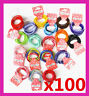 100 Girls Women Soft Cotton Hair Ties Hair bands For Ponytail School Mixed Color