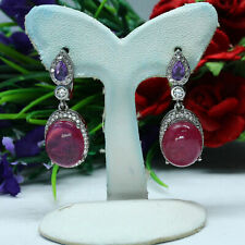 NATURAL 9 X 11 mm. RED RUBY, PURPLE AMETHYST & WHITE CZ EARRINGS 925 SILVER