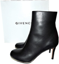 Givenchy Black Leather Ankle Booties Gold Trim Boots 36.5- 6.5