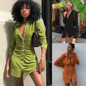 Ladies Womens Casual Velvet Shirts Dress Long Sleeve Buttons Mini Party Dresses