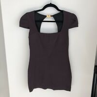 Emilio Pucci Women's Size US 8 Dark Brown Short Sleeve Square Neck Blouse Fitted