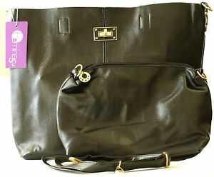 Stylish Ladies Woman Faux Leather Tote Bag with one Small Shoulder HandBag