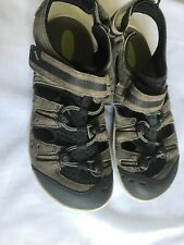 CLARKS WAVE WALK Mens 9M Leather Suede BUC GREY MESH TOGGLE SPORT Hiking SANDALS
