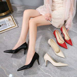 Elegant Pointed Stiletto Heel Shoes Korean Casual Faux Leather Plus Size Pumps