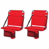 Eastpoint Sports Adjustable Backrest Stadium Seat w/ Cup Holder, Red (2 Pack)
