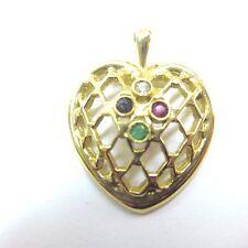 Beautiful 10k yellow Gold Filagree Heart Pendant Ruby emerald sapphire
