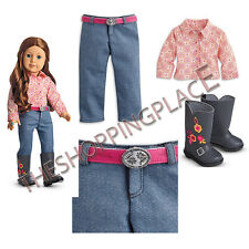 New American Girl Doll Saige Horse Back Riding Parade Outfit Boots Shirt Pants+