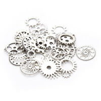 30pcs/lot Silver Mixed Cog Charms Round Wheel Gear Steampunk Pendant DIY Making