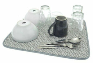 GREY MICROFIBRE DRYING MAT PAD KITCHEN SINK DRAINER DISHES GLASSES 46 X 41 CM