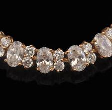 14k Gold Tennis Bracelet made w Swarovski Crystal Clear Stone Bridal Jewelry