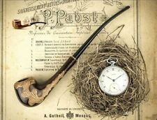"""HAND CARVED LADY WOODEN TOBACCO SMOKING PIPE  """" Liana  Churchwarden """"  Pear"""