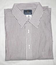 NEW MEN'S STAFFORD LS DRESS SHIRT WHITE W/BROWN STRIPE SIZE 17 34,35