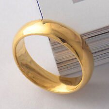 Unisex Smooth 18k Plain Yellow Gold Filled GF Ring Wide Bands SZ 11 Thick 7MM W.