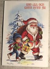 Christmas Postcard ~ Santa & Boy God Jul Posted Via Sweden 1983
