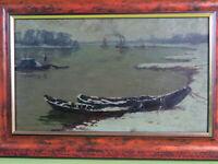 """Alfred Rasenberger (1885-1948) - Gemälde """"Schiffe am Niederrhein"""" um 1920-1930"""