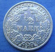 Deutsches Reich Germany 1/2 Mark 1917 A - Nice!