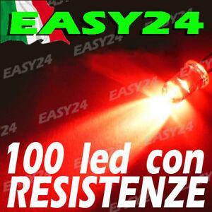 100 DIODI LED ROSSO ROSSI ALTA LUMINOSITA' 20 gradi 5 mm con resistenze