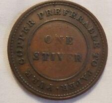 1838 british guyana one stiver colonial high grade copper west indies trade coin