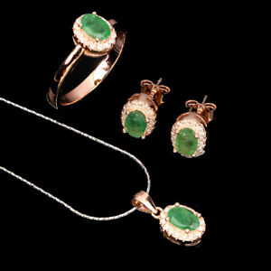 Unheated Oval Emerald 6x4mm Cz 14K Rose Gold Plate 925 Sterling Silver Sets