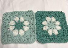 """20 4 1/2"""" LIGHT GREEN Hand Crochet DAISY FLOWER GRANNY SQUARES Afghan Blocks"""