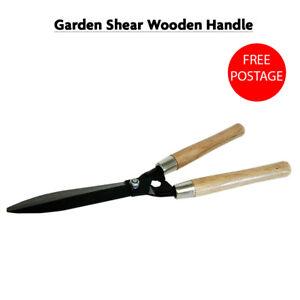 Carbon Steel Blade Wooden Handle Garden Shears Hedges Grass Shrubs Bushes