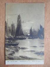 CPA FANTAISIE SALON 1909. MARONIEZ J.-G. SOIR EN BRETAGNE. ILLUSTRATEUR BATEAUX