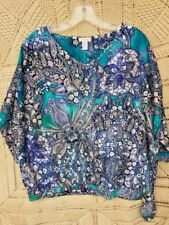 SALE @ Nearly New CHICO'S Beaded Paisley Floral Top Blouse Shirt Womens Sz 3 XL