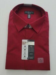 Alfani Mens 17-17.5 34/35 Burgundy Slim Stretch Wrinkle Resistant Wicking Shirt