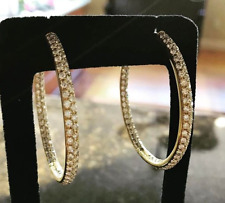 14K Yellow Gold Over 3.15 Ct Round Cut Diamond Women's Hoop Earrings