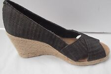 White Mountain Matador blk canvas espadrilles wedge jute peep toe shoe 8 MINT