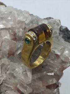 Lagos 18K Yellow Gold w/ Citrine, Diamond & Green Peridot Cocktail Ring Size 3.5