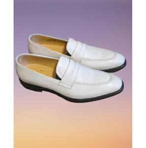 Handmade Men White Leather Moccasin Shoes, Casual Loafer Slipon Shoes
