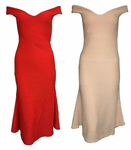 1s Womens Ladies Off shoulder Crepe Bodycon Bardot Midi Dress 8-14