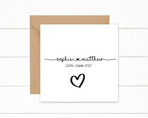 Personalised Wedding Day Card Anniversary Card Script Font Modern 1st 2nd 3rd