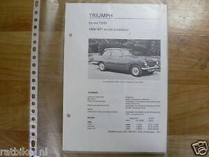 TR12-TRIUMPH HERALD 13/60 1969-1971 TECHNICAL INFO