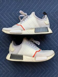 Adidas NMD R1 Cloud White Solar Red Carbon Black Shoes Men's Size 7.5 #EE5086