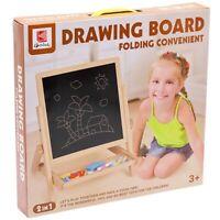 Kids Drawing Board Children's Wooden 2 IN 1 Blackboard & Whiteboard Easel Chalk
