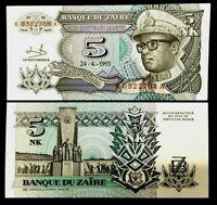 Zaire 5 Nouveaux Makuta 1993 Banknote World Paper Money UNC Currency Bill Note