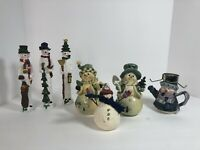 Snowman Christmas Ornaments Figurines Lot Of 7