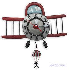 Fantastic Red AIRPLANE JUMPER Biplane Designer Wall Clock by Allen Designs