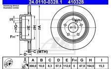 ATE Juego de 2 discos freno 300mm para VW TRANSPORTER 24.0110-0328.1