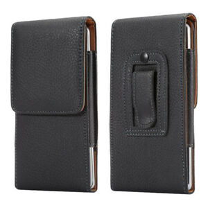 Leather Belt Holster Magnetic Flip Pouch Whit Stitch Case Cover for Mobile Phone