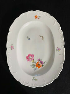 KPM Berlin Hand Painted Oval Serving Platter with Flower and Insect Patter