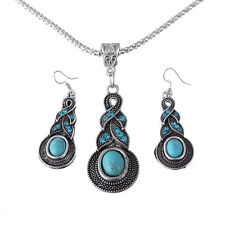 Tibet Silver Blue Turquoise Crystal Pendant Necklace Earring Jewelry Set BCCX114