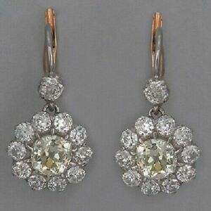 925 Silver Retro Cluster Style Earrings 3.20 CT Round Diamond 14K White Gold FN