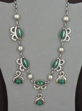 Vintage Green Onyx Stones Sterling Silver Matching Necklace Screw Back Earrings