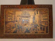 Pyrogravure & peinture sur bois Loudres signe Boli