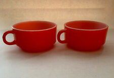 2 Vintage Glasbake D-Handle Stacking Round Soup Mugs Orange & White J-2711