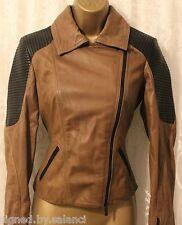 Karen Millen LTD Edition Supple Leather Quilt Shoulder Khaki Biker Jacket 10 38